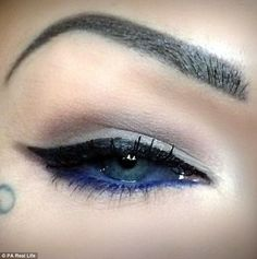 Sara risked blindness to have her eyeballs tattooed dark blue, but insists the procedure was not painful compared to laser eye surgery