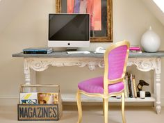 With a pop of colour. Love the magazines box and pink/gold chair