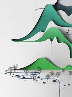 Eiko Ojala paper craft art snowy landscape