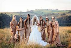 Beautiful bridesmaids dresses in earth tones.. gorgeous