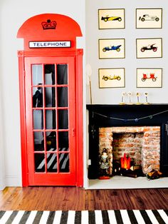 """Cheerio, mate! Major props to Kelly Edwards, author of The Design Cookbook: Recipes for a Stylish Home, for this adorable idea of turning a plain door into a British telephone box. """"With a can of red paint and a sign, you can add major style for less than $25,"""" she says. Use it on a closet or in a kids' room  Read more: DIY Door Decorating Ideas - Cooking And Decorating Ideas 2013 - Redbook"""