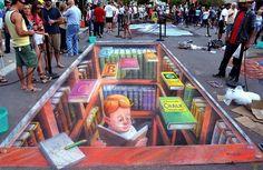 Streetart für Leseratten! RT @Libroantiguo: Eduardo Kobra Street Mural, Boy in a Library. Photo: Milton Jung.