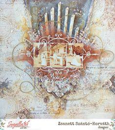 Szántó-Horváth Zsanett Sugallatok Medium Art, Mixed Media Art, Scrapbooking, Layout, Tea, Vintage, Design, Page Layout, Scrapbooks