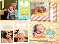 Birth Announcement Photoshop Templates for Photographers