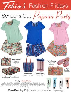 Pajama Party:  Featuring Vera Bradley Pajamas in Nomadic Floral, Cobalt Stripe and Paisley In Paradise.  Find the entire outfit at Tobin's in Oconomowoc, WI.