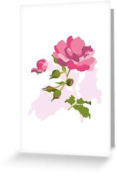 'Botanical Rose illustration' Greeting Card by Marlene Wagenhofer Rose Illustration, Beautiful Pink Roses, Canvas Prints, Art Prints, Finding Yourself, Stationery, Greeting Cards, Artists, Graphic Design