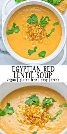 This Egyptian Red Lentil Soup is entirely vegan gluten free and so delicious Packed with a delicious spice mix which take it to a whole new level Try it now for dinner lunch meal preparation You know what I m talking about yum Vegan Lentil Soup, Lentil Soup Recipes, Healthy Soup Recipes, Veggie Recipes, Vegetarian Recipes, Cooking Recipes, Red Lentil Recipes Easy, Vegan Soups, Cooking Food