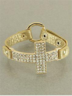 Goldtone Rhinestone Cross Bracelet  Jewel Junkie