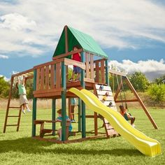 Canons and climbing rope houghton conquest school outdoor for Childrens playhouse with slide and swing