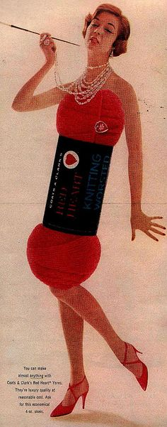 Old yarn advertisement from McCall's: Woman in Yarn Skein Dress by saltycotton, via Flickr - this would make an awesome Halloween's costume
