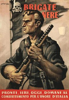 """Italian Fascist propaganda poster from World War II. The caption reads """"Ready yesterday, today, and tomorrow to fight for Italy's honor"""""""