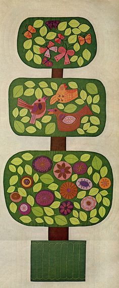 Vintage felt wall art/topiary. Would be fun also in a no sew collage with punch paper, buttons and paper or felt woodland creatures