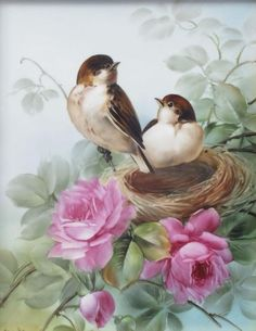 View Birds In Nest By San-Do; Access more artwork lots and estimated & realized auction prices on MutualArt. Art Floral, Flora Und Fauna, Ouvrages D'art, China Painting, Bird Pictures, Little Birds, Bird Prints, Bird Art, Beautiful Birds