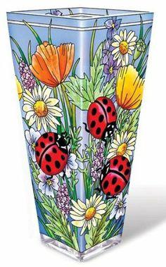 Amia 10-Inch Glass Vase Hand-Painted Ladybug Design…