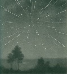 The radiant meteor storm of October 9, 1933.   (Larousse Encyclopaedia of Astronomy)