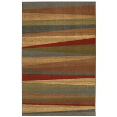 The offset design of this striped rug and the bold use of color accentuate the striated background all yielding a contemporary masterpiece. This rug is stain and fade resistant and is sure to be beautiful for years.