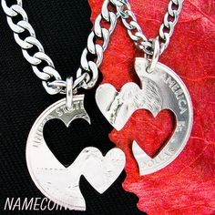 Double Heart Necklace, Couples jewelry hand cut coin – NameCoins