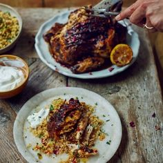 Roast harissa chicken with spicy grains, an easy Sunday lunch or dinner party recipe from www.redonline.co.uk