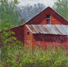 Old Red Shed by Lisa Stauffer Pastel With Watercolor Underpainting ~ 12 x 12