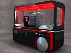 Carros ARENA SNACK by Felipe Goknock at Coroflot.com Food Stall Design, Food Cart Design, Food Truck Design, Container Design, Strate Design, Kiosk Design, Signage Design, Design Design, Graphic Design