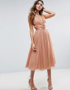 ASOS PREMIUM Tulle Midi Prom Dress With Ribbon Ties