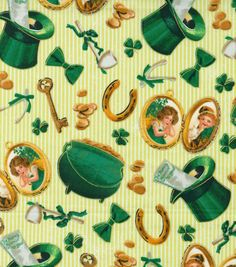 Holiday Inspirations St. Patrick's Day Fabric - Leprechaun Locket