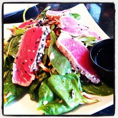 """Seared Ahi Tuna Appetizer  Pairs well with Chardonnay, Red Burgundy and Sake Daiginjo!  For more """"perfect"""" pairings go to www.chefvivant.com.  #foodanddrink, #wine"""