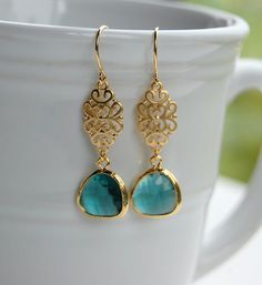 Gold Vintage Inspired Dusty Blue Teardrop Earrings, gift, mother, wife, sister, daughter, bridesmaid gift, birthday, wedding, everday