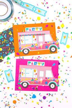 90s-retro-free-printable-ice-cream-truck-party-invites Bff Birthday Gift, Happy Birthday Wishes, 2nd Birthday Parties, Birthday Cards, Birthday Ideas, Birthday Decorations, Birthday Invitations, First Birthdays, Creations