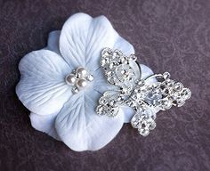 Butterfly Wedding Hair Accessory Flower Hair by TheBlissfulLoft, $43.99