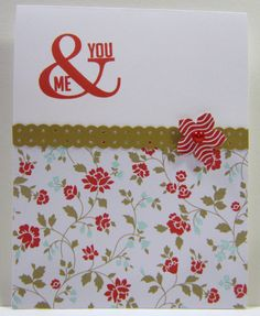 """""""You & Me"""", Perfect Pennants Stamp Set, Crumb Cake, Fresh Prints DSP, Petite Petals, Real Red Classic Ink, Border Dotted Scallop Ribbon Punch"""