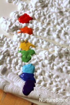 Rainbow theme sensory play, rainbow painting craft for kids