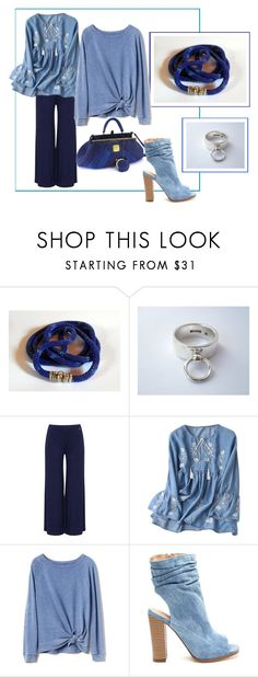 """""""Blue gardenia #3"""" by colchico ❤ liked on Polyvore featuring Anello, Mat, Gap, ring, necklace, handmadejewelry and giftforher"""