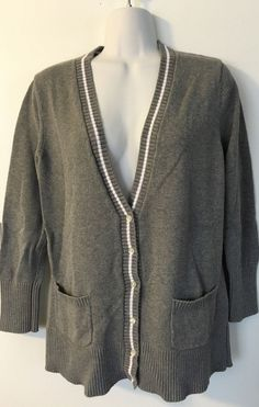 Lands End Gray Piped Cardigan size M 10 12 Womens Cotton Sweater V-Neck Soft #LandsEnd #Cardigan