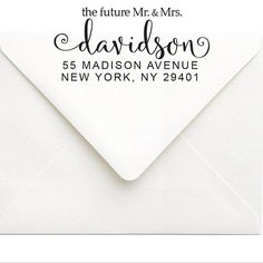 Beautiful calligraphy Mr and Mrs Return Address Stamp. This would be a great gift for a bride or a shower or an engagement gift. It comes in a rubber stamp or a self-inking stamp by SouthernPaperAndInk. Click to customize.