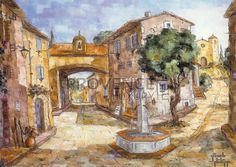 """Place de Toutour (Ref/GIR032) by Philippe Giraudo - Reproduction 70 x 50 cm (19.75"""" x 27.60"""") - $ 24.99 Reproduction, French Artists, Painting, Painting Art, Paintings, Painted Canvas, Drawings"""