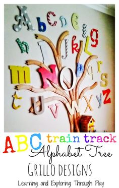 ABC wooden train track alphabet tree. Bedroom design. Grillo Designs. Kids Bedroom. Learning and Exploring Through Play.