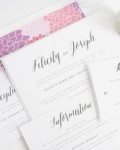 Rustic Wedding Invitations with Floral Envelope Liner in Purples and Pinks  pink wedding invitations, purple wedding invitations, floral wedding invitations, rustic wedding invitations, chic wedding invitations, wedding invitation, invitation