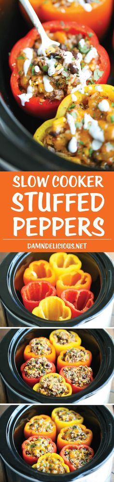 Slow Cooker Stuffed Peppers - Hearty, protein/fiber loaded peppers packed with so much flavor - and it's all made in the crockpot. Easy and effortless!