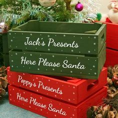 Personalised Small Christmas Box by Plantabox, the perfect gift for Explore more unique gifts in our curated marketplace. Christmas Eve Box For Kids, Christmas Eve Crate, Xmas Eve Boxes, Christmas Hamper, Christmas Signs, Christmas Wrapping, Christmas Projects, Christmas Crafts, Christmas Decorations