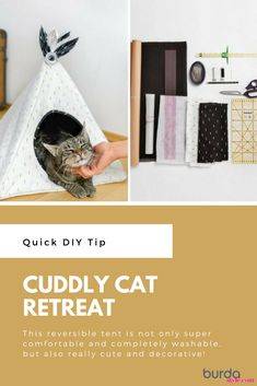 This reversible tent is not only super comfortable and completely washable, but also really cute and decorative! The house is perfectly proportioned and has an additional removable cushion for your kitty. Read on to see how to make… #burdastyle #sewing #pattern #sew #diy #cat #craft #project #catcraft #diycattentnosew