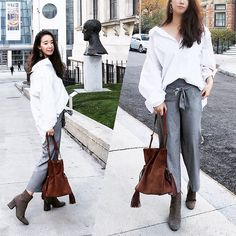 Get this look: http://lb.nu/look/8486479  More looks by WMwatchme: http://lb.nu/wmwatchme  Items in this look:  All Saints Tassled Bag, Zara White Shirt, Zara High Waisted Pants, H&M Earring, Zara Ankle Boots   #streetstyle #fallfashion #everydaylook #streetfashion #offduty #casuallook #fashionblogger #stylist