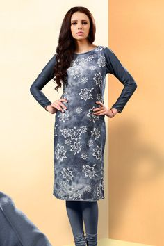 Grey simple printed reyon casual wear kurti 373
