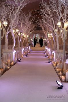 Tall, white Manzanita trees with hanging candles, freestanding in white boxes with the base covered in white hydrangeas will line the white carpeted-aisle.