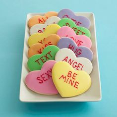 Conversation cookies - perfect pastel colors! QT, LUV, 4 EVER, HUG?, XOXO, B MINE, LUV U, etc. in red