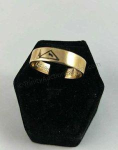 10k Gold Masonic Scottish Rite Wedding Band Ring