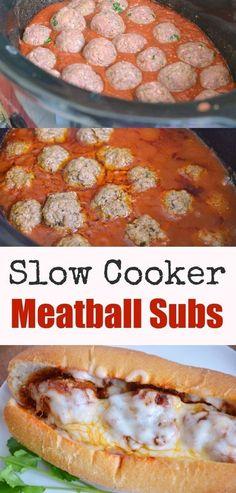 Slow Cooker Meatball Subs Recipe - Easy Crock Pot Dinner Idea with homemade meatballs and marinara sauce.::