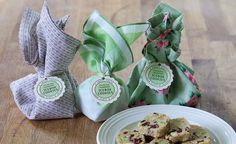 Pistachio cranberry icebox cookies wrapped in vintage fabrics and napkins in various designs with Icebox Cookies, Wafer Cookies, Mini Cookies, Sugar Cookies, Cookie Favors, Cookie Gifts, Mini Mason Jars, White Chocolate Chip Cookies, Cookie Packaging
