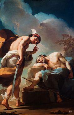Mercury about to behead Argus. 1770-75. Ubaldo Gandolfi. Italian. 1728-1781. oil on canvas.