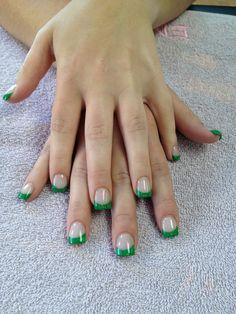 Custom mixed green glitter acrylic nails by Shannon Chomanczuk
